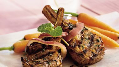 Grilled Mint-Wine Lamb Chops