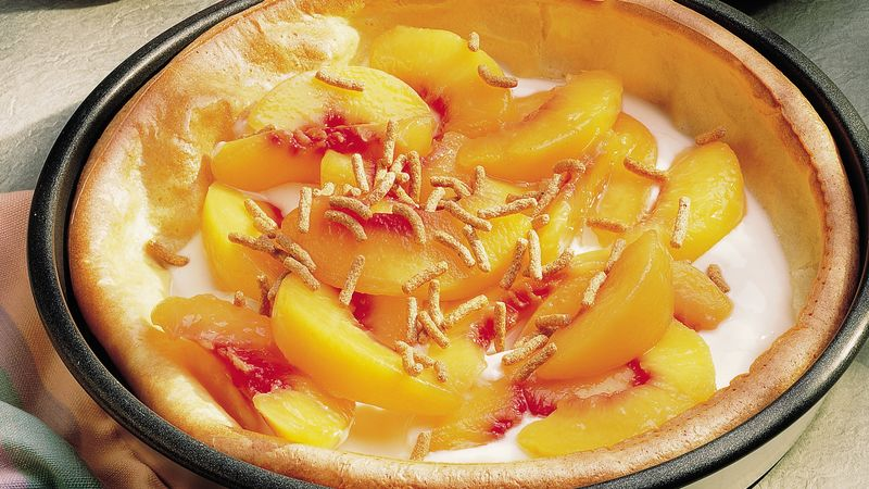 Peach-Yogurt Dutch Baby Pancake