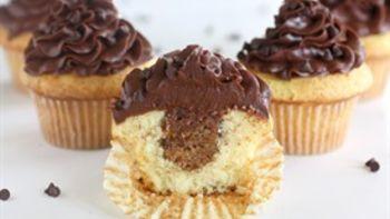 Almond Chocolate Chip Cookie Dough Cupcakes