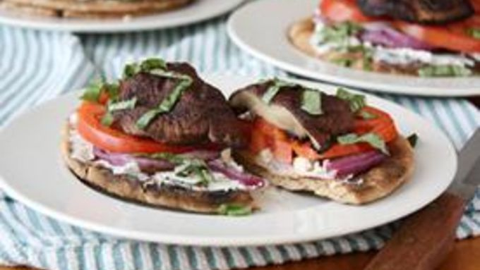 Open-Faced Grilled Portobello Goat Cheese Sandwiches
