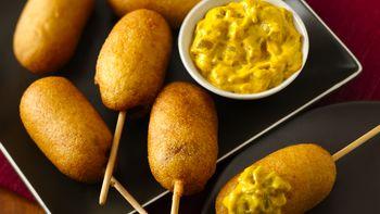 Mini Corn Dogs with Green Chile Mustard