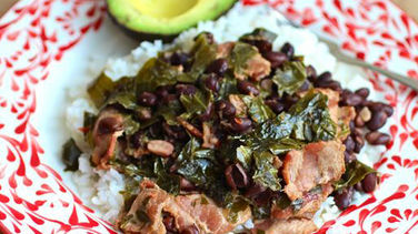 Black Beans with Bacon and Collard Greens