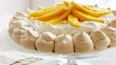 Meringue Crown with Mango and Passion Fruit