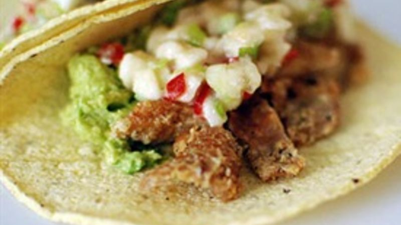 Chicken Skin Tacos with Habanero Banana Salsa