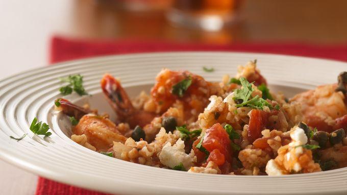 Mediterranean Shrimp with Bulgur