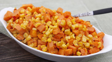 Oven Baked Sweet Potatoes with Corn