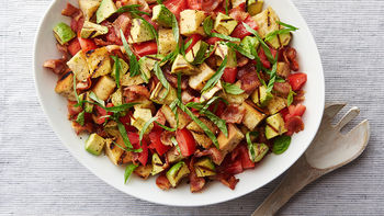 Grilled Avocado and Bacon Panzanella