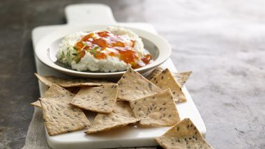 Sea Salt Crackers with Goat Cheese and Apricot Topping