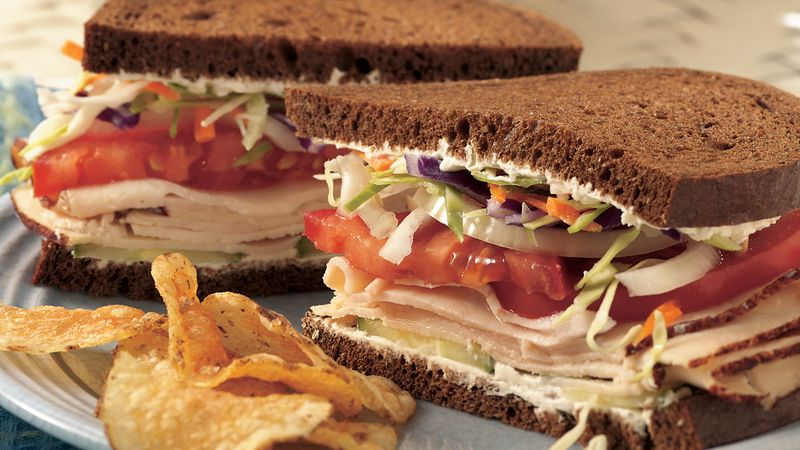 Chicken, Vegetable and Cream Cheese Sandwiches