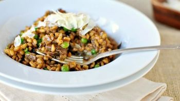 Porcini Farrotto with Peas and Parmesan