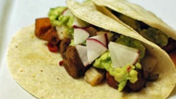 Scallop Sausage and Sweet Potato Tacos