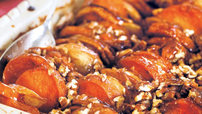 Roasted Apples and Sweet Potatoes in Honey-Bourbon Glaze recipe - from ...