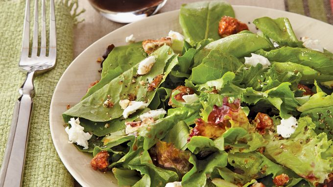 Salad Greens with Goat Cheese Pecans and Sherry Vinaigrette