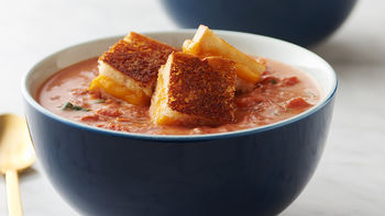 Slow-Cooker Creamy Tomato Basil Soup with Grilled Cheese Croutons