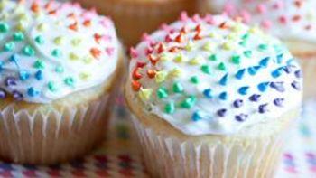 Polka Dot Rainbow Cupcakes