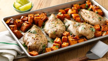 Jerk Chicken with Sweet Potatoes Sheet-Pan Dinner