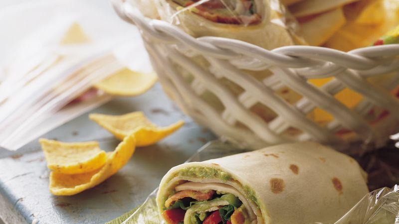 Turkey, Bacon and Guacamole Wraps