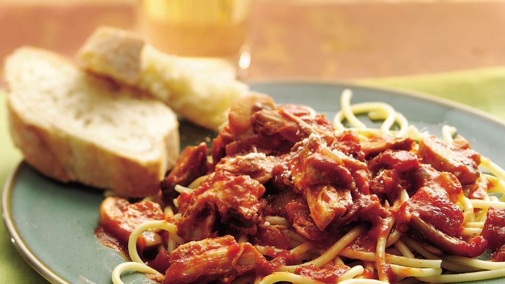Slow-Cooker Chunky Pork and Mushroom Spaghetti Sauce