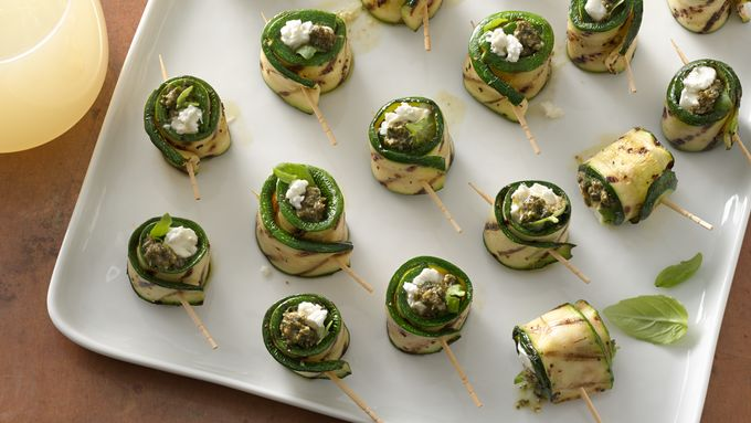 Zucchini, Pesto and Goat Cheese Roll-Ups