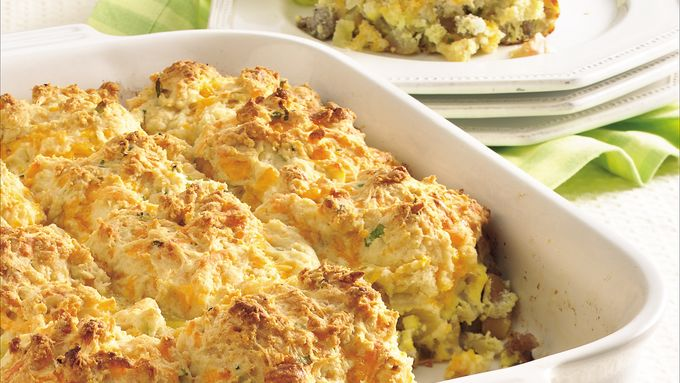 Sausage and Apple Cheddar Biscuit Bake