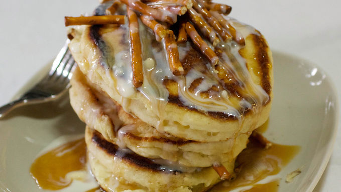White Chocolate Pretzel Pancakes