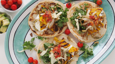 Butternut Squash, Kale and Pumpkin Seed Tacos