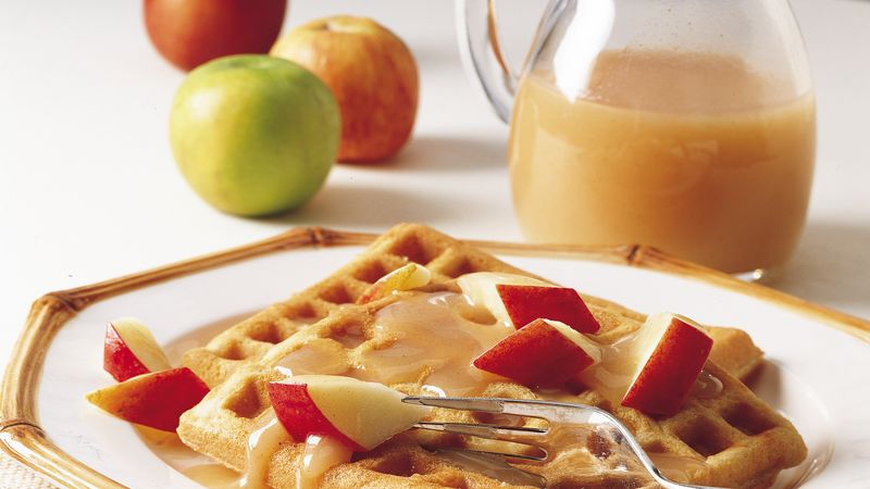 Apple Cinnamon Waffles with Cider Syrup