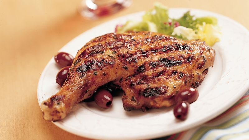 Grilled Greek Chicken with Red Wine and Garlic