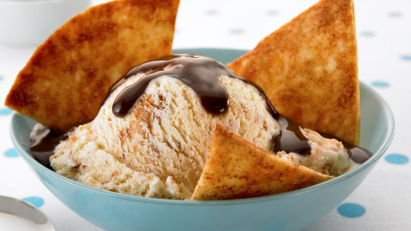 Cinnamon Ice Cream with Tortilla Wedges