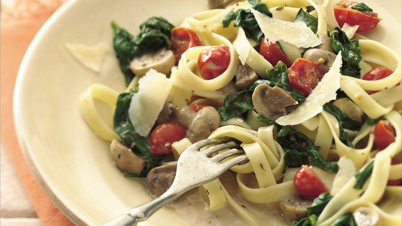 Mushroom and Spinach Fettuccine