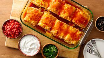 Make-Ahead Chicken Enchilada Lasagna Roll-Ups
