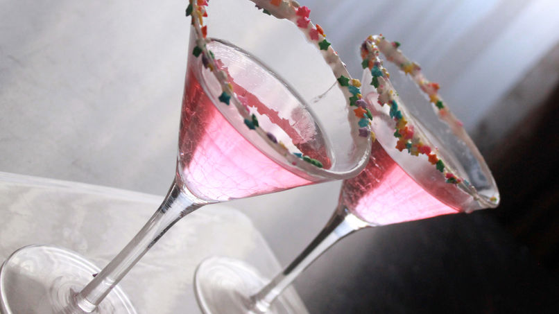 Pink Martini with Yogurt and Sprinkle Rim
