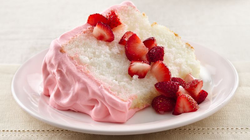 Strawberry Cream Angel Cake recipe from Betty Crocker