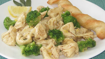 Browned Butter Three-Cheese Tortellini and Broccoli