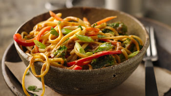 Noodle Bowl with Beer-Peanut Sauce