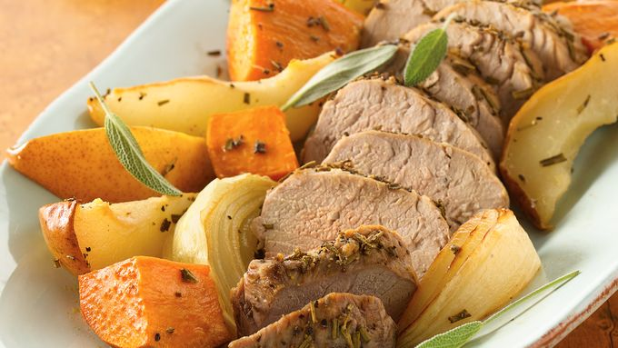 Roasted Pork Tenderloins with Sweet Potatoes and Pears