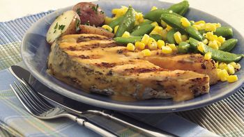 Grilled Salmon Packs with Sugar Snap Peas and Corn