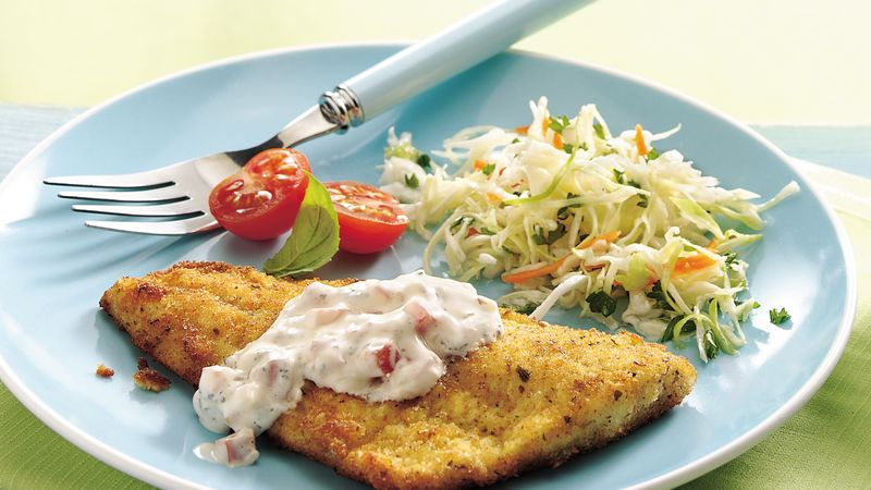 fish fillets with herbed tartar sauce recipe from betty