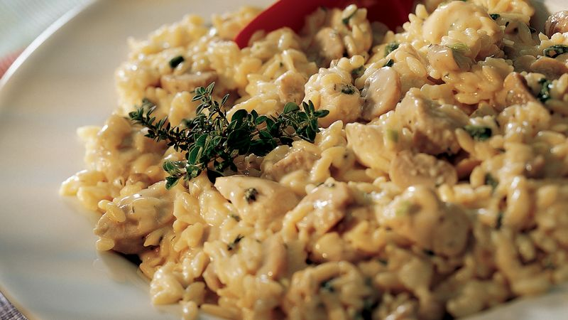 Creamy Orzo with Chicken