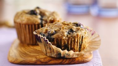 Oatmeal-Whole Wheat Blueberry Muffins