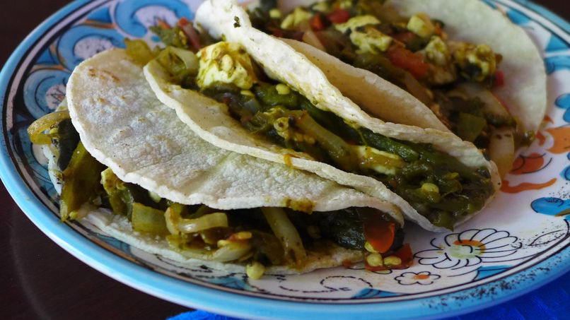 Rajas Tacos with Cheese