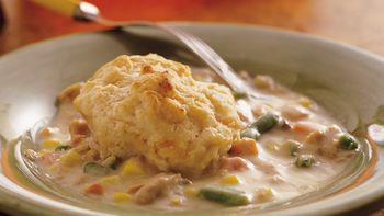Tuna with Cheese-Garlic Biscuits