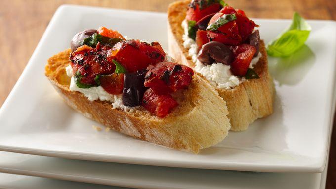 Fire Roasted Tomato and Olive Bruschetta