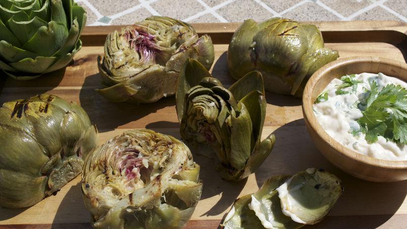 Grilled Artichokes with Garlic and Cilantro Cream