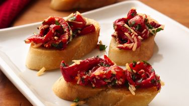Roasted Red Bell Pepper Bruschetta
