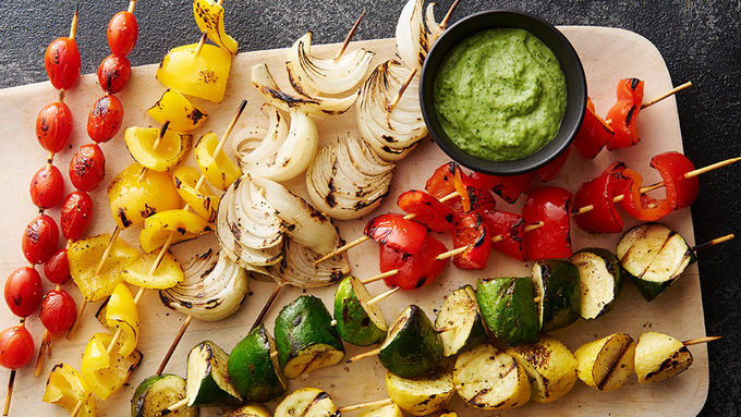 Grilled Vegetable Kabobs with Pesto Aioli