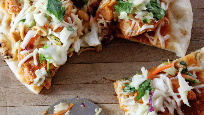 Indian Butter Chicken Naan Pizza with Lime & Peanut Slaw