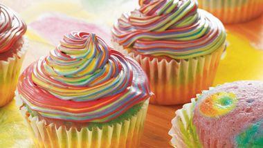 """Tie-Dye"" Cupcakes"