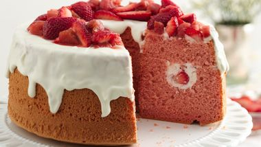 Strawberry Rhubarb Chiffon Cake