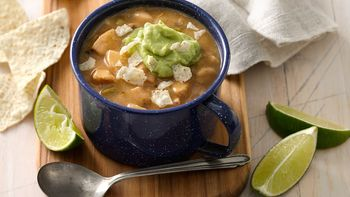 Southwestern Chili with Avocado Crema